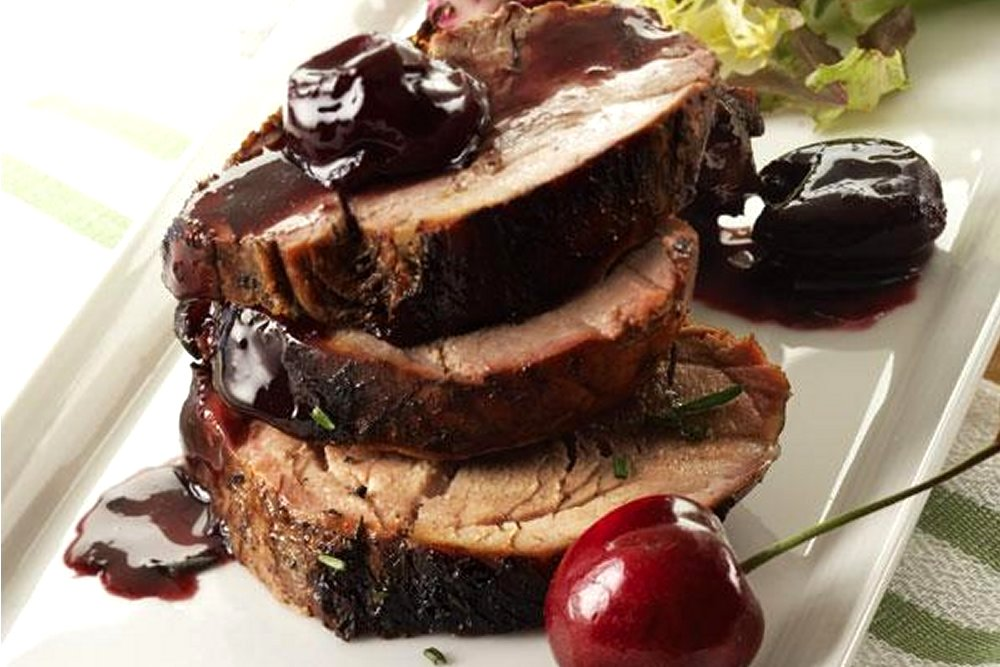 rosemary pork and cherry sauce
