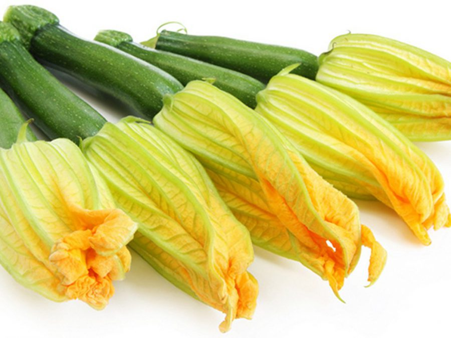 Fried Zucchini Flowers and Courgettes
