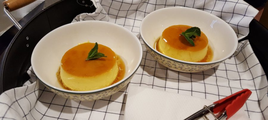 Crème Caramel with Orange and Nut Brittle Topping