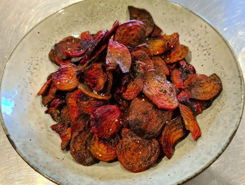 slat and rosemary beetroot chips